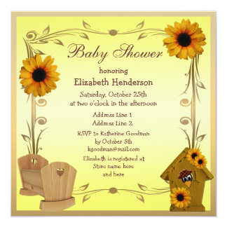 "Fall Baby Shower Sunflowers, Crib & Crow 5.25"" Square Invitation Card"