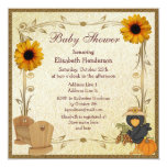 Fall Baby Shower Sunflowers, Crib & Crow 5.25x5.25 Square Paper Invitation Card