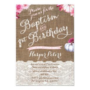 Fall Baptism 1st Birthday Celebration For Girl Invitation