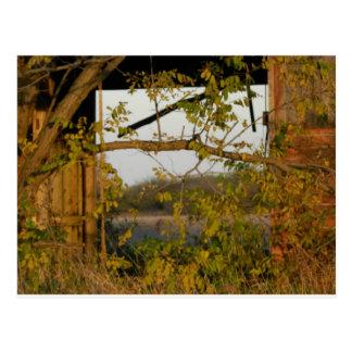 fall barn door postcard