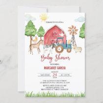 Fall Barnyard Farm Animals Baby Shower Invitation