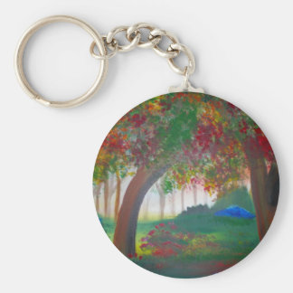 fall basic round button keychain