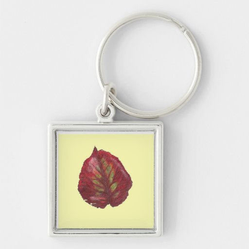 Fall Beauty Red Leaf Keychain - On Yellow