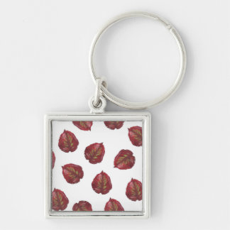 Fall Beauty Red Leaves Keychain - On White