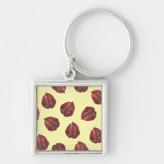 Fall Beauty Red Leaves Keychain - On Yellow