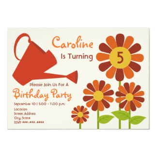 Fall Birthday Party - Flower Garden & Watering Can 5x7 Paper Invitation Card