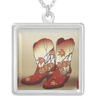 Fall Boots Ukiyo E Western Art by Jayde Hilliard Custom Necklace