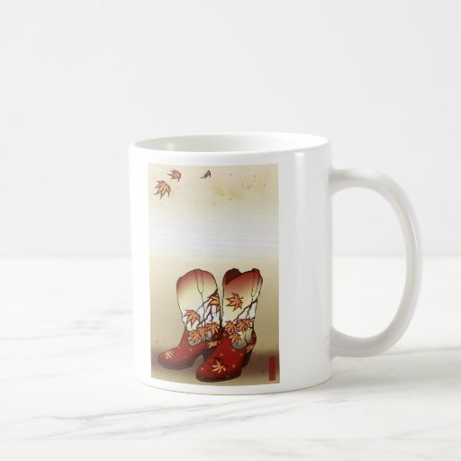 Fall Boots with Maple Leaf Motif Classic White Coffee Mug
