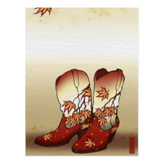 Fall Boots with Maple Leaf Motif Postcards