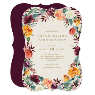 Fall Border Thanksgiving Dinner Party Invitation