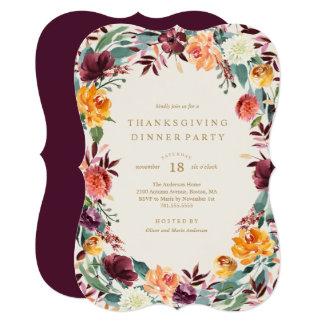 Fall Border Thanksgiving Dinner Party Invitation