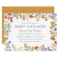 Fall Botanical Baby Shower Invitations