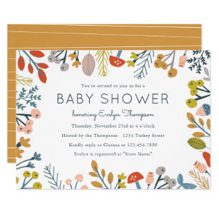 Fall baby shower invitations announcements zazzle fall botanical baby shower invitations filmwisefo