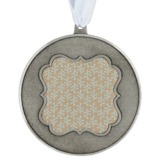 Fall Branches Pattern Scalloped Pewter Ornament