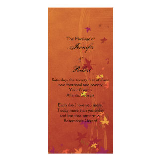 Fall Breezes Wedding Program Rack Card Design