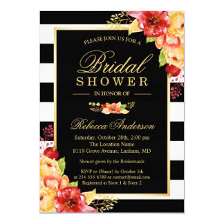 Fall Bridal Shower Autumn Gold Red Floral Stripes Invitation
