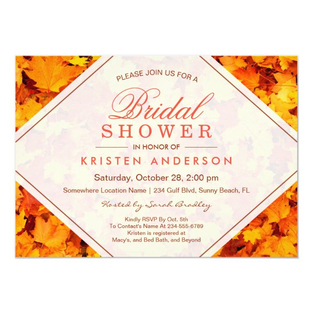 FALL BRIDAL SHOWER | AUTUMN MAPLE LEAVES CARD