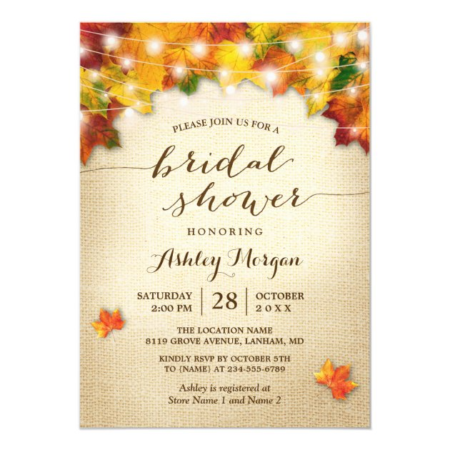 Fall Bridal Shower Burlap String Lights Leaves Card