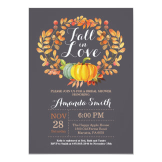 Fall Bridal Shower Invitation Card Gray