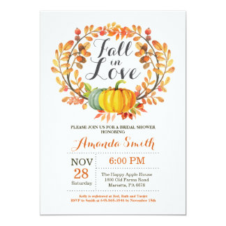 Fall Bridal Shower Invitation Card Pumpkin
