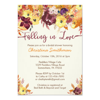 Fall Bridal Shower Invitation Falling In Love