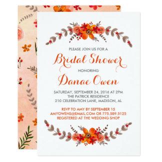 Fall Bridal Shower invitation|Watercolor chic card