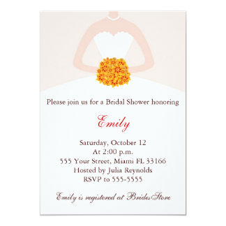 "Fall Bridal Shower Invitation White Bride Dress 5"" X 7"" Invitation Card"