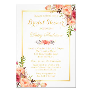 Fall Bridal Shower Rustic Orange Floral Chic Gold Card