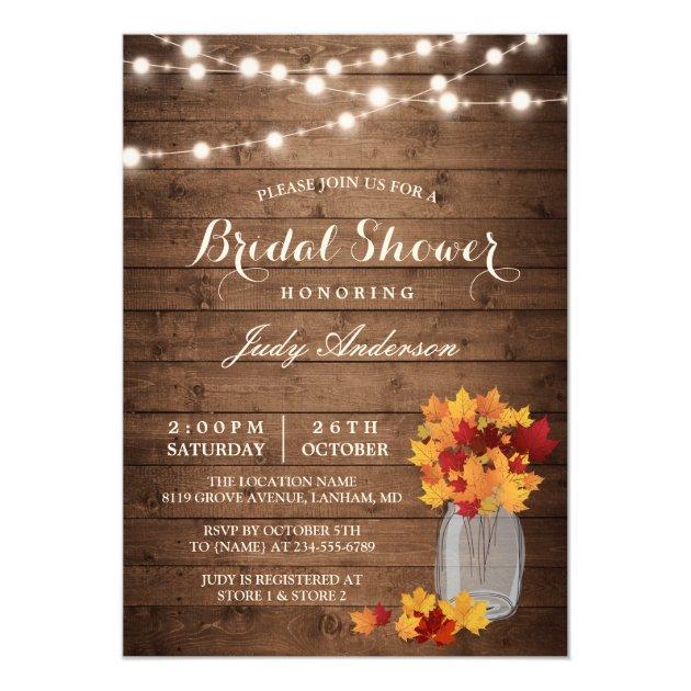 Fall Bridal Shower | Rustic Wood Mason Jars Lights Card (front side)