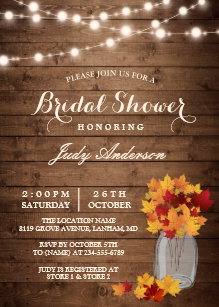 fall bridal shower rustic wood mason jars lights invitation