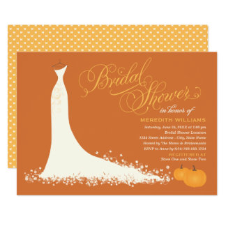 Fall Bridal Shower | Wedding Gown with Pumpkins Card