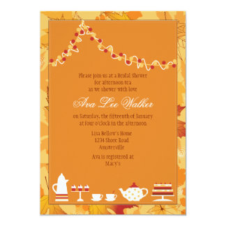 Fall Bridal Tea Party Invitation