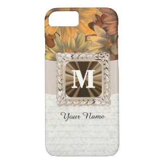 Fall brown floral personalized monogram iPhone 8/7 case