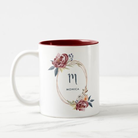 Fall Burgundy Floral and Rose Gold | Monogram Two-Tone Coffee Mug