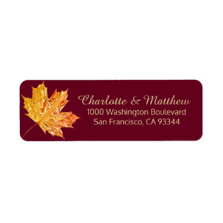 Fall Burgundy Gold Leaves Wedding Return Address Label