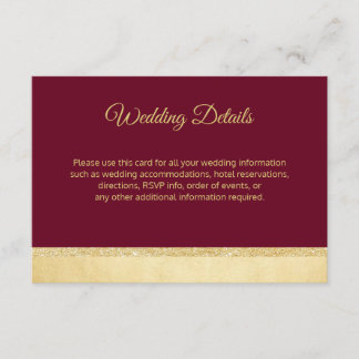 Fall Burgundy Gold Wedding Details Inserts