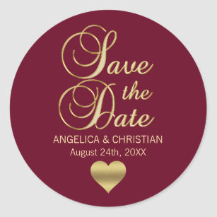 burgundy save the date stickers zazzle