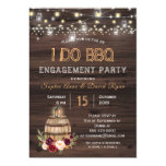 Fall Burgundy Wine Barrel Floral Engagement Party Invitation