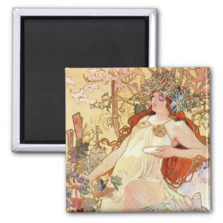 Fall by Mucha 2 Inch Square Magnet