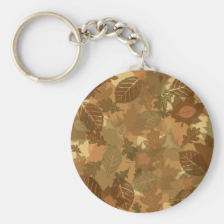 fall camo leaves design basic round button keychain
