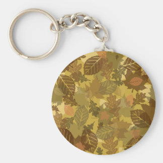 fall camo leaves pattern basic round button keychain