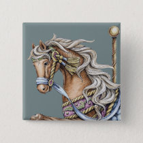 Fall Carousel Horse Drawing Square Button