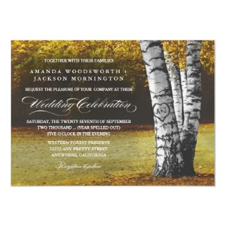 Fall Carved Heart Birch Tree Wedding Invitations