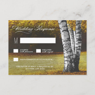 Fall Carved Heart Birch Tree Wedding RSVP Cards