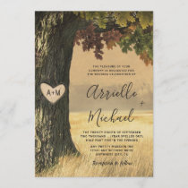 Fall Carved Oak Tree Country Rustic Forest Wedding Invitation