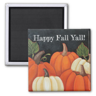 """Fall Chalkboard Pumpkins"" Custom Square Magnet"
