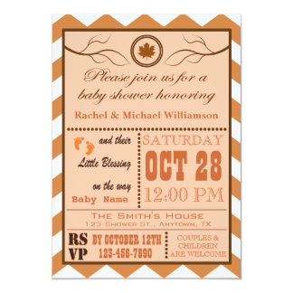 Fall Chevron Pattern Baby Shower Invitation