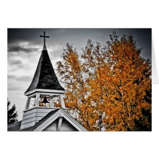 Fall Church Steeple Greeting Cards