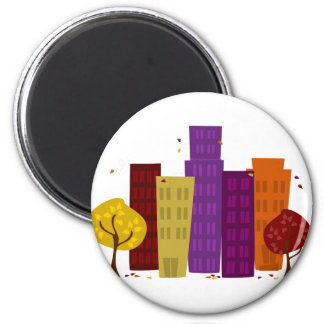 Fall Cityscape 2 Inch Round Magnet