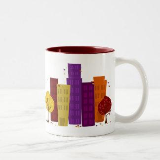 Fall Cityscape Two-Tone Coffee Mug